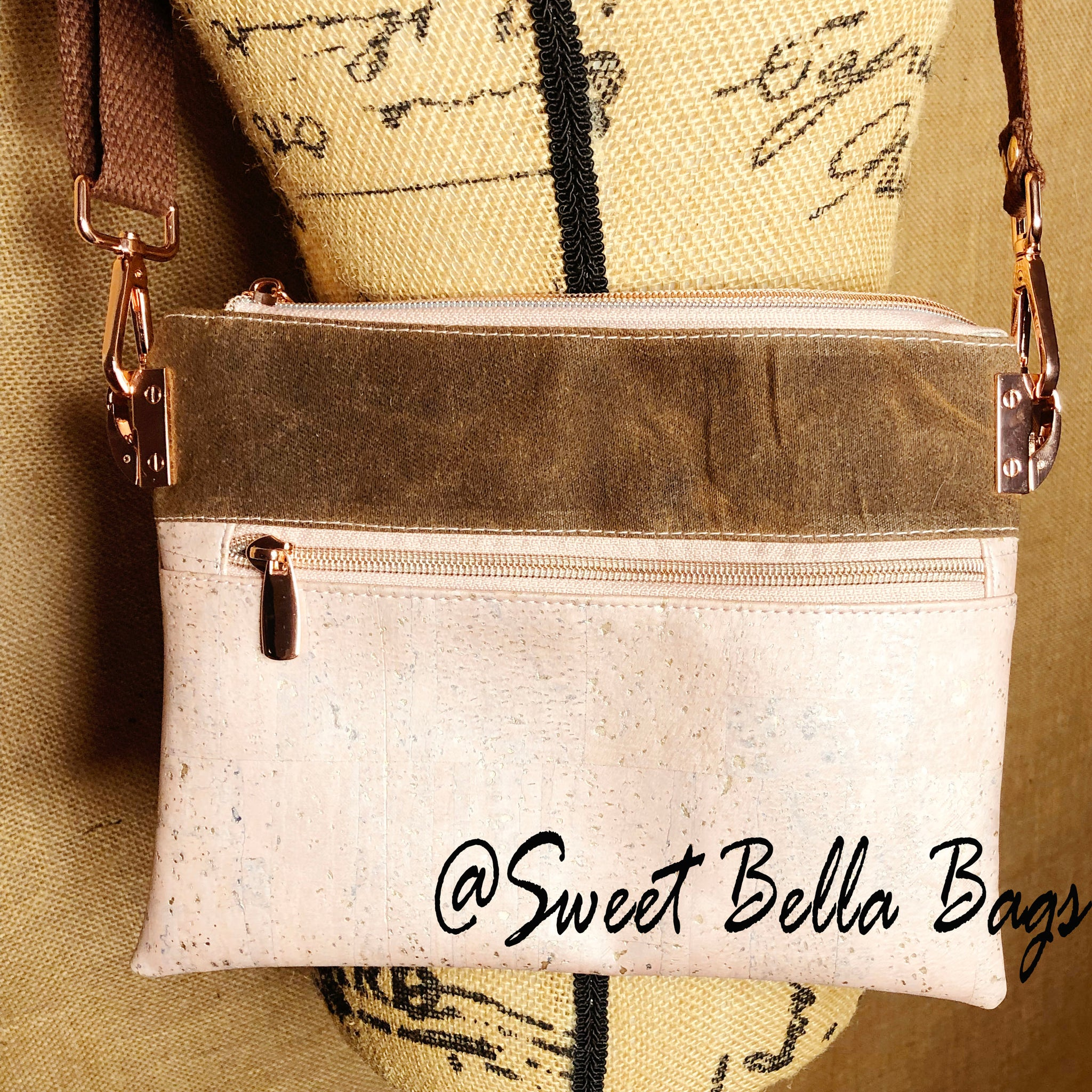 Traisee Crossbody Made Pink Cork And Spice Waxed Canvas
