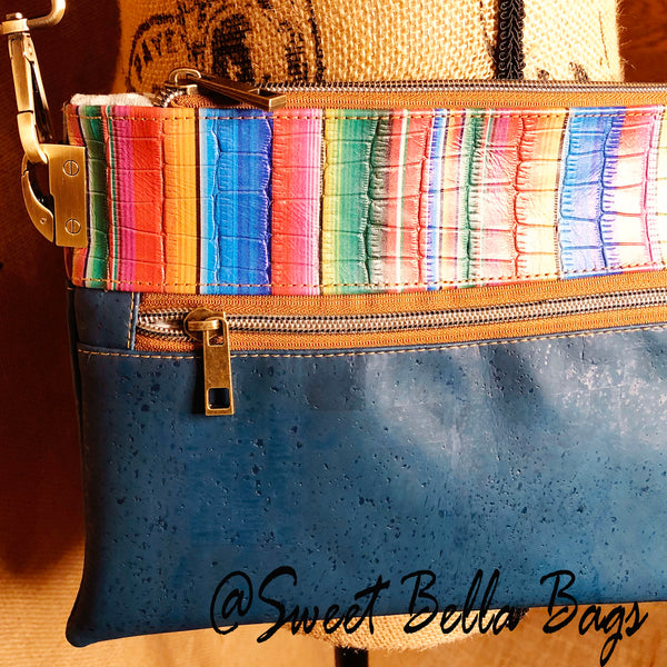Traisee Crossbody with Teal Cork,  Serape Leather