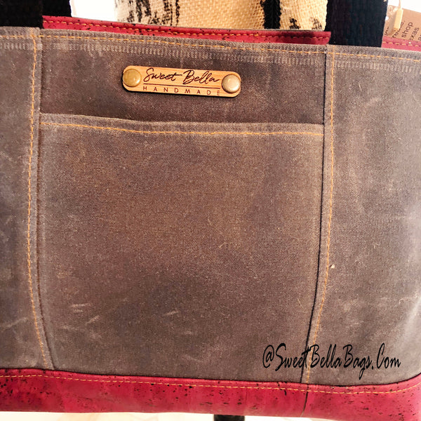 Small Chrystee Tote Made With Charcoal Wax Canvas And Cranberry Cork