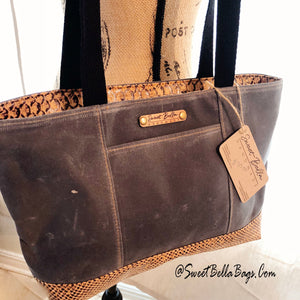 Small Chrystee Tote Charcoal Wax Canvas And Snake Cork