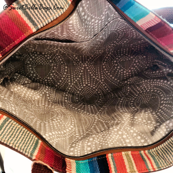 Large Chrystee Made With Spice Waxed Canvas And Serape Handwoven Textile