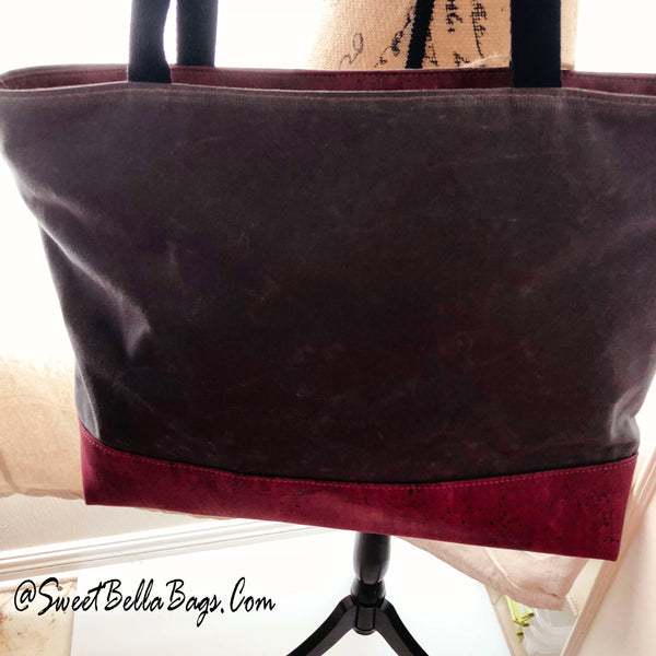 Large Chrystee Tote Made From Charcoal Wax Canvas And Cranberry Cork