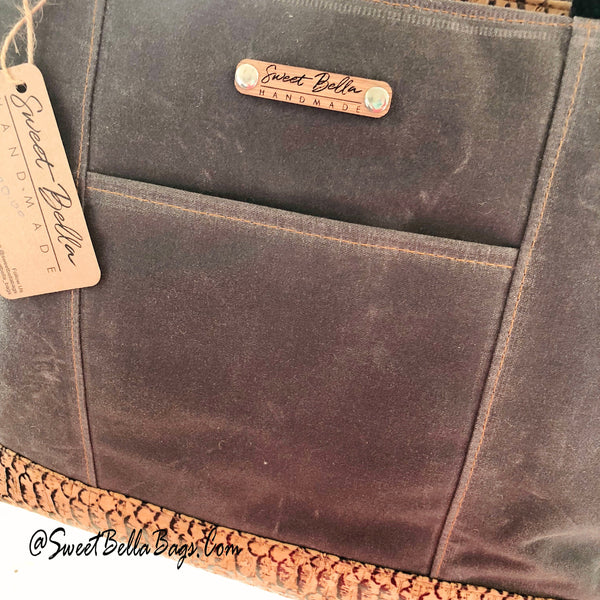 Large Chrystee Tote Made With Charcoal Wax Canvas and Snake Cork