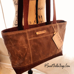 Small Chrystee Tote Made With Spice Wax Canvas and Chocolate Cork