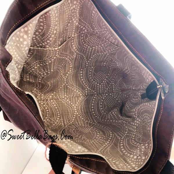 Large Chrystee Tote Made From Charcoal Wax Canvas And Chocolate Cork