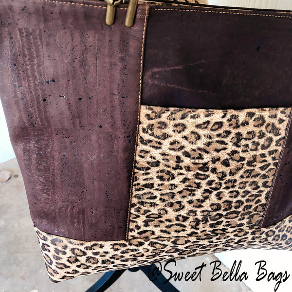 Large Chrystee Cork Tote Bag Made With Cheetah and Chocolate Cork