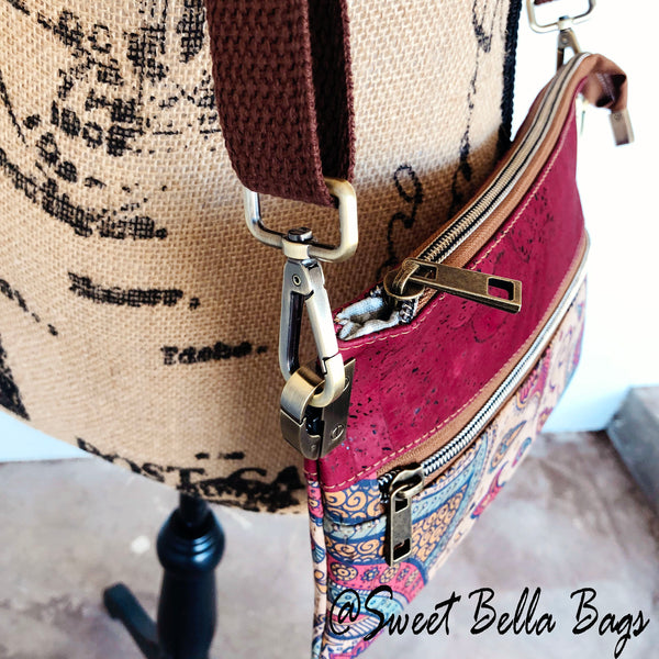 Traisee Crossbody Made From Paisley And Wine Cork