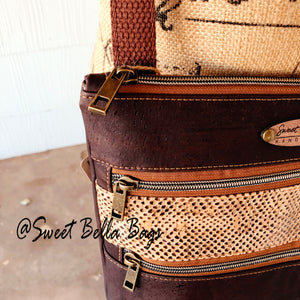 Crossbody Kamren In Snake And Chocolate Cork