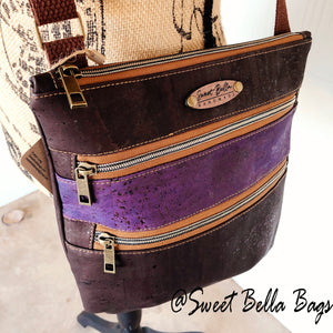 Crossbody Kamren in Chocolate And Purple Cork