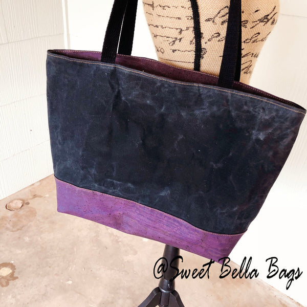 Large Chrystee Tote, Made With Purple Cork And Black Waxed Canvas