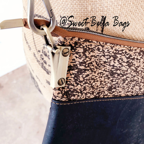 Traisee Crossbody Made With Black And Speckled Cork