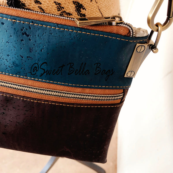 Traisee Crossbody Made With Teal And Chocolate Cork