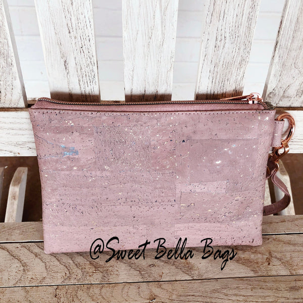 The Tiffany Clutch Bag Made With Pink Cork With Rose Gold Flecks and Chocolate Cork Accent