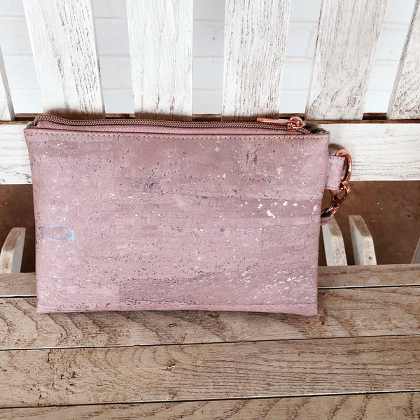 The Tiffany Clutch Bag Made From Pink With Rose Gold Flecks And Purple Cork