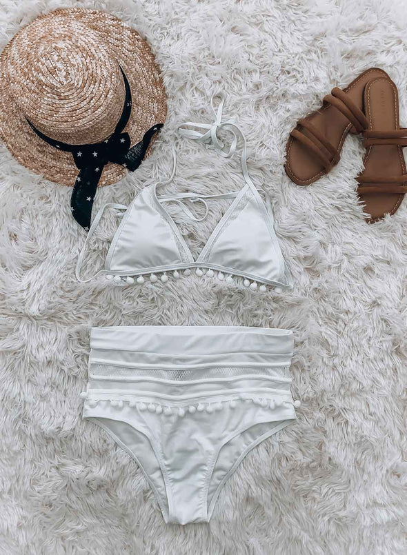 High Waisted Pom Pom 2pcs Bikini Set