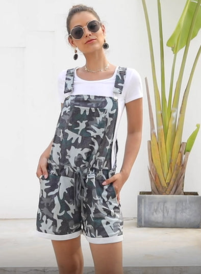 Camo Pocketed Short Overall