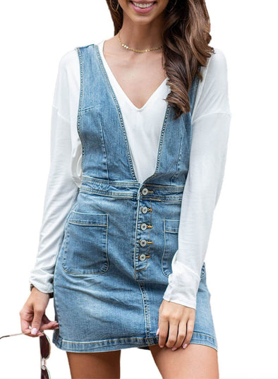 Pocketed Mini Denim Overall Dress (LC220590-4-1)