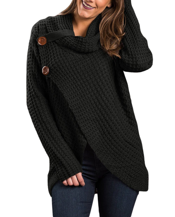 Black Buttoned Wrap Cowl Neck Sweater