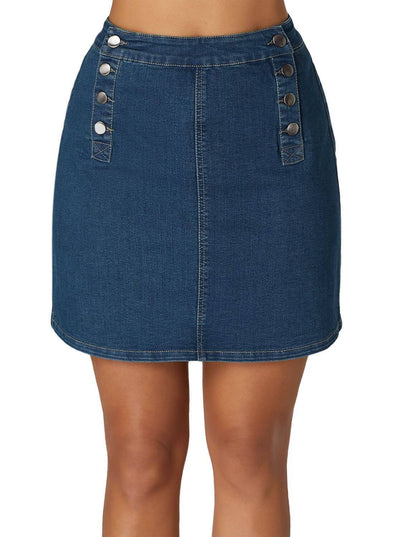 Double Breasted Denim Mini Skirt (LC65144-5-1)