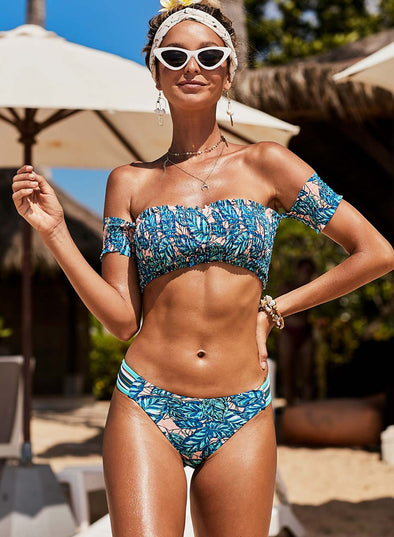 Tropical Printed Sleeve Smocked Two-Piece Swimsuit