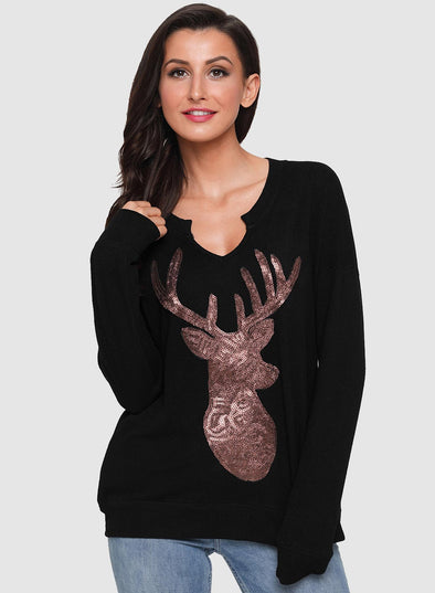 Women's Sequin Christmas Reindeer Top