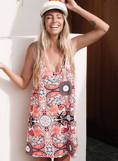 Summer Casual Sleeveless Floral Printed Sundress