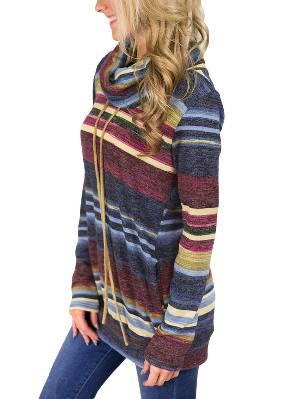 Cowl Neck Striped Sweatshirt