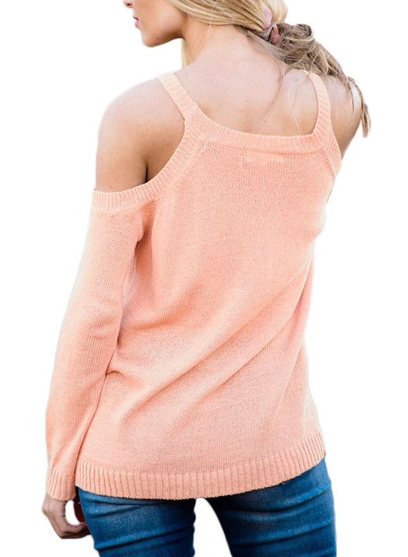 Cold Shoulder Lace up Detail Knit Sweater Top