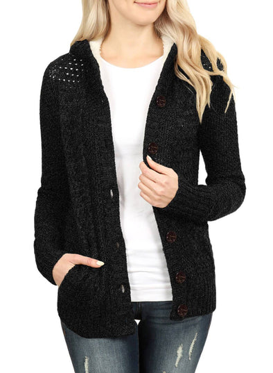 Fleece Hooded Button Down Cardigan Sweater