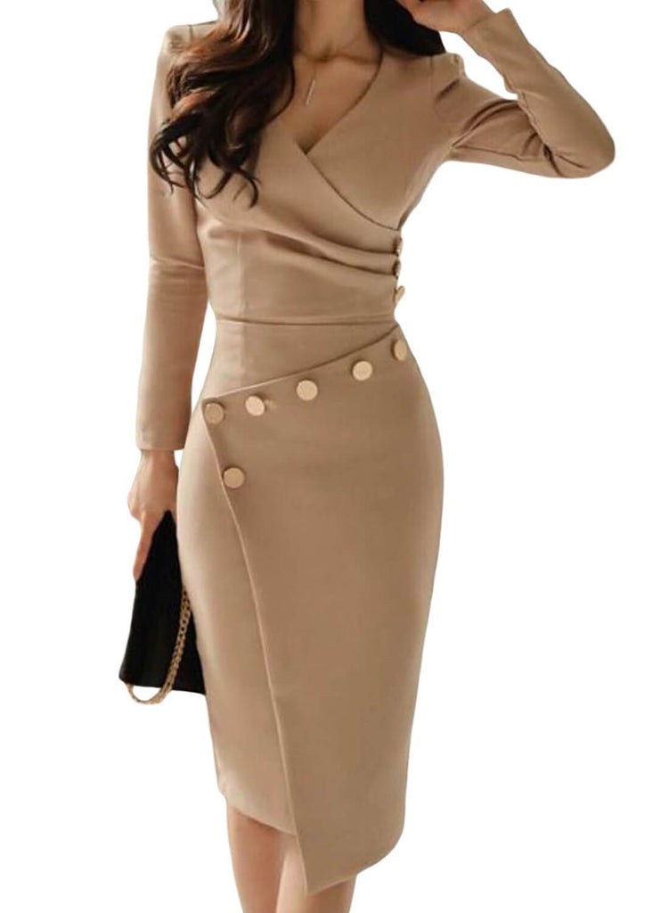 Long Sleeve V Neck Bodycon Midi Dress. Hover to zoom 1b3fb69dd