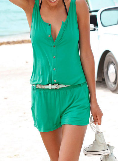 Solid Color Sleeveless Button jumpsuit