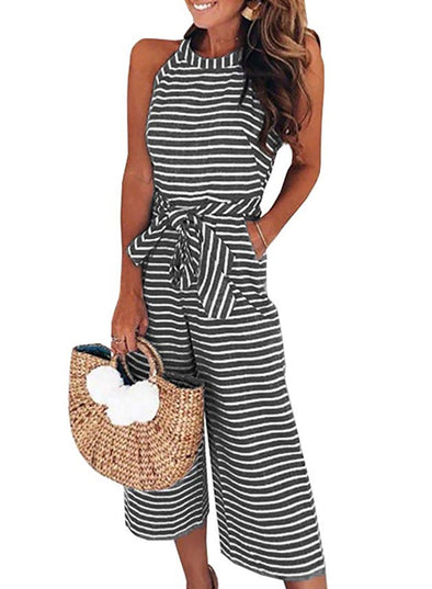 Striped Sleeveless Waist Belted Wide Leg Loose Jumpsuit(LC64598-2-1)