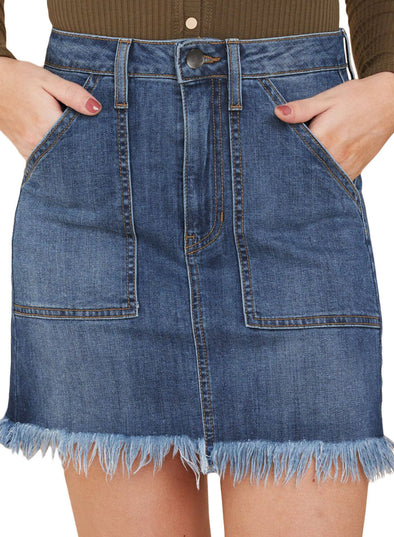 Distressed Hem Denim Skirt