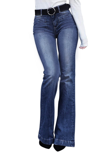 Blue Pocket Trumpet Flare Jeans