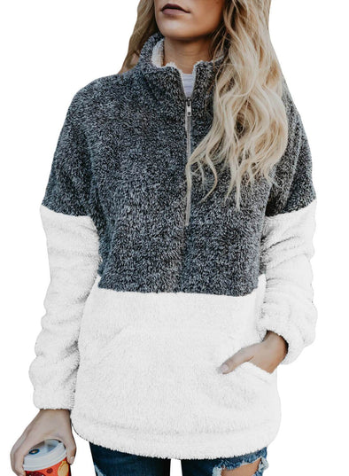 White Zip Neck OverColor Fluffy Fleece Pullover