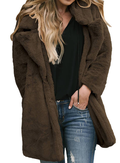 Pocketed Faux Fur Longline Coat