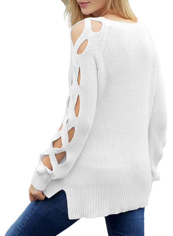 Cutout Detail Ribbed Knit Sweater