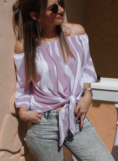 Off Shoulder Bell Sleeve Shirt Tie Knot Casual Blouses
