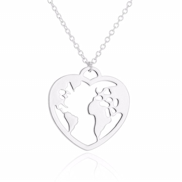 Necklace | Heart Shaped World Map