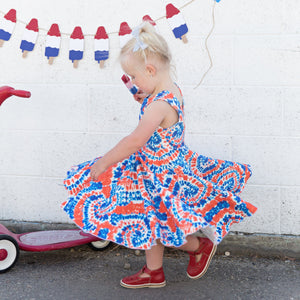 Red White and Blue Tie Dye Twirl Dress