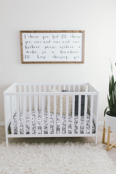Modern Bright Boho Natural Nursery with Geometric Handmade Baby Sheet