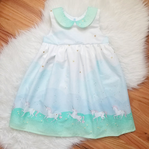 GIrl's Unicorn Print Party Playtime Dress