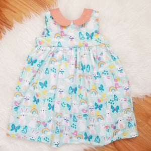 GIrl's Easter Dress with Colorful Easter Bunny Rainbow Pattern