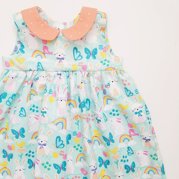 Custom Made Girl's Party Dress in Easter Bunny Print