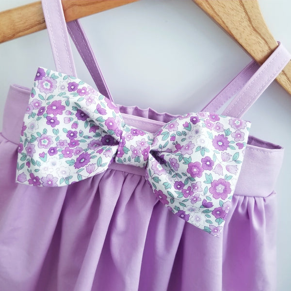Girl's Sundress in Lavender with Floral Bow
