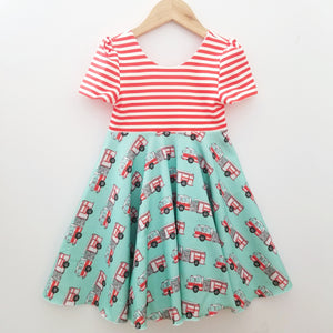 Striped Firetrucks Twirl Dress