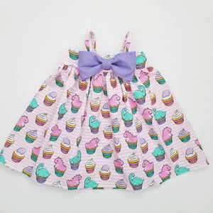 Dinosaur Cupcakes Bow Dress