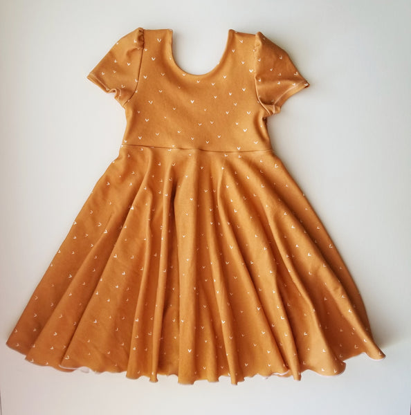 Mustard Hearts Twirl Dress