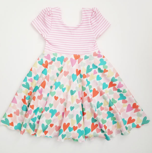 Spring Hearts Twirl Dress