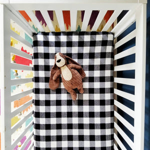 Black & White Buffalo Plaid Flannel Baby Bedding
